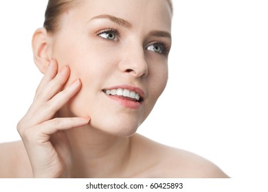 beauty close-up woman face over white background