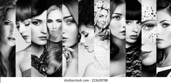 Beauty collage. Faces of women. Fashion photo. Black and white