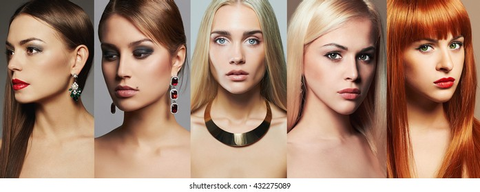 Beauty collage. Faces of women. Fashion photo. Makeup,lipstick and eye shadow. Different beautiful girls