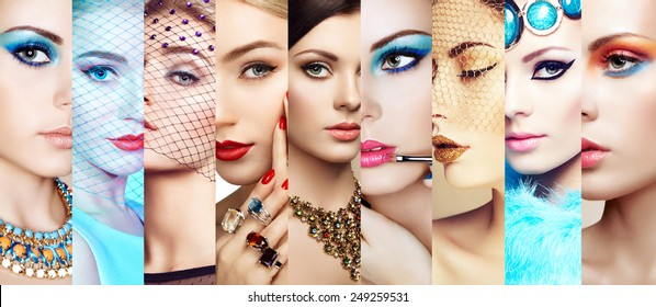 Beauty collage. Faces of women. Group of people. Fashion photo. Makeup and jewelry