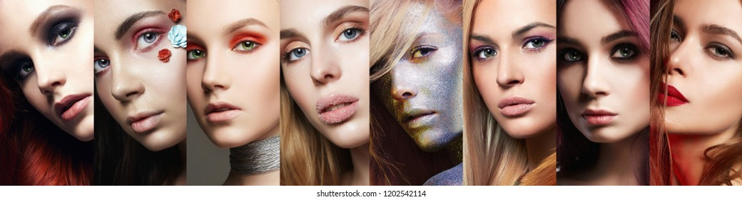 beauty collage. Faces of women. Makeup, beautiful girls. Colorful different make-up
