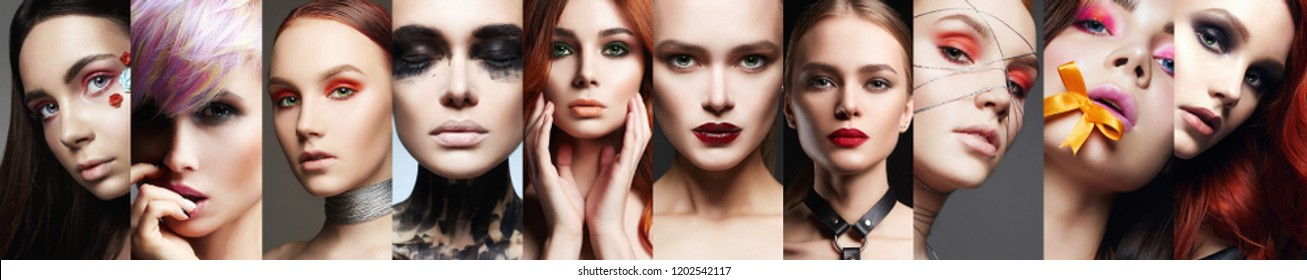 beauty collage. Faces of women. Makeup beautiful girls mosaic