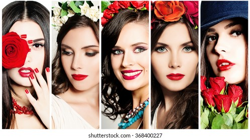 Beauty Collage. Faces of Women. Red Lips and Rose Flowers