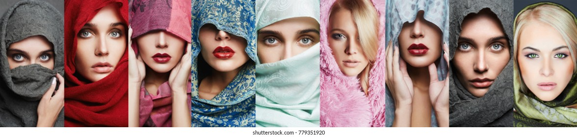 beauty collage of women in scarf. beautiful girls make-up. different trendy models