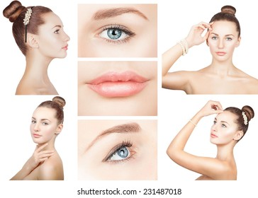 Beauty collage of young pretty girl with fresh clear skin and natural make up. Isolated.