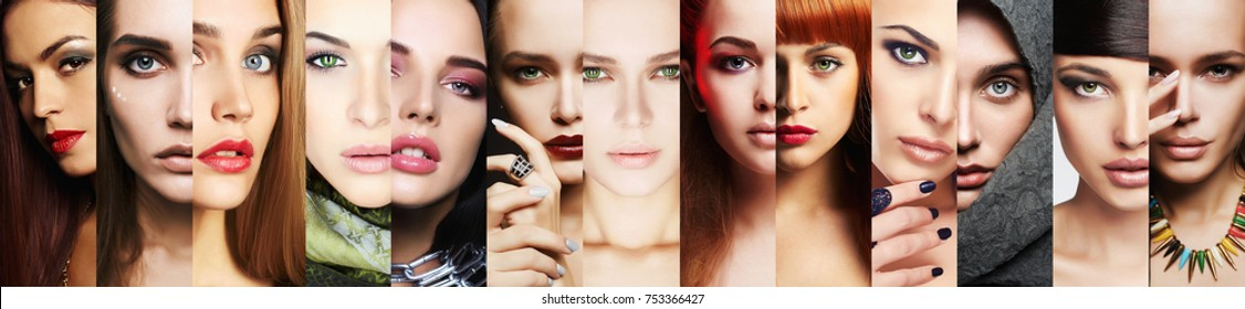 beauty collage.Faces of women.Makeup beautiful girls mosaic