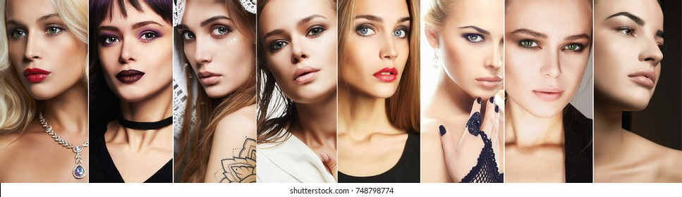 beauty collage.Faces of women.Makeup beautiful girls.different blond and brunettes models