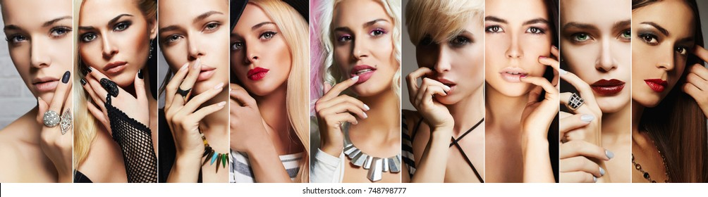 beauty collage.Faces of women.Makeup beautiful girls.different blond and brunettes posing with hand near face