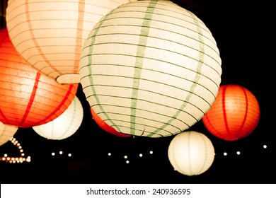beauty color paper lamps at night