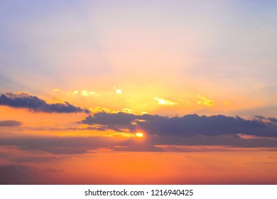 The beauty of the colorful sky during the sunset time.Beautiful sunset background from the colorful beams on the sky.
