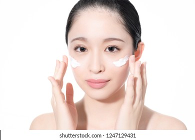 Beauty concept of an asian woman. Cosmetics.