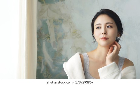 Beauty concept of an asian woman. Beauty salon. Skin care. Body care. Hair removal.