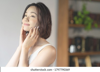 Beauty concept of an asian woman. Skin care. Body care. *Prohibited by terms of use: Using for adult, porno and dating contents.