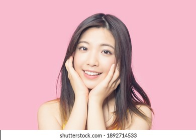 Beauty concept of an asian woman. Skin care. Cosmetics.