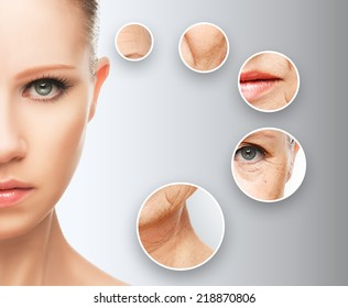 beauty concept skin aging. anti-aging procedures, rejuvenation, lifting, tightening of facial skin, restoration of youthful skin anti-wrinkle