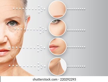beauty concept skin aging. anti-aging procedures, rejuvenation, lifting, tightening of facial skin, restoration of youthful skin anti-wrinkle - Shutterstock ID 220292293