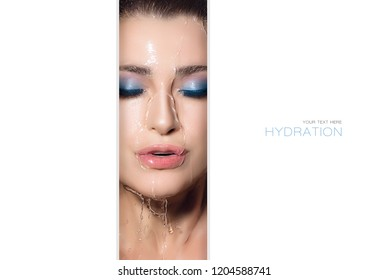 Beauty concept of waterproof makeup with a cropped center view of a glamorous woman wearing make-up with clean fresh water running over her face and blank white copy space on either side