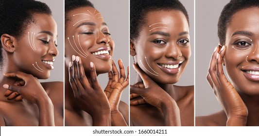 Beauty concept. Young African American woman with perfect skin after face lifting or plastic surgery, collage