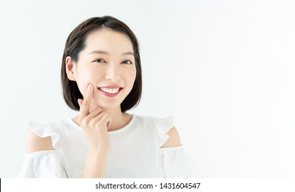 Beauty concept of young asian woman. Dental care.