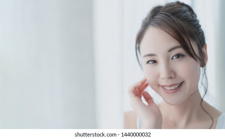 Beauty concept of young asian woman. Skin care. Body care. Wellness concept.