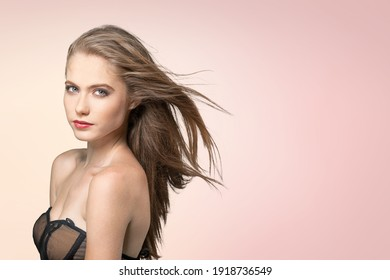 Beauty concept of a young woman. Hair care. Cosmetics.