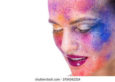 Beauty Concepts. Beauty Closeup Portrait of Caucaisan Girl With Powder Colorful Artistic Makeup Across The Face On White.Horizontal Shot