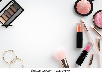 beauty cosmetic make up top view flat lay on white background