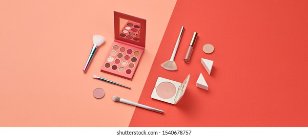 Beauty cosmetic makeup product layout. Fashion woman make up brush, powder. Stylish minimal coral design. Creative fashionable concept. Cosmetics make-up accessories, pop art.