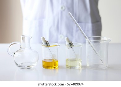 Beauty cosmetics sciences, Formulating and mixing skincare with herbal essence, Scientist prepare organic raw materials for beauty products, Alternative healthy medicine.