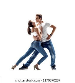 beauty couple dancing social danse ( kizomba or bachata or semba or taraxia) , on white background, isolated