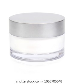 beauty cream jar on white background