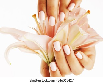 beauty delicate hands with manicure holding flower lily close up isolated on white perfect shape