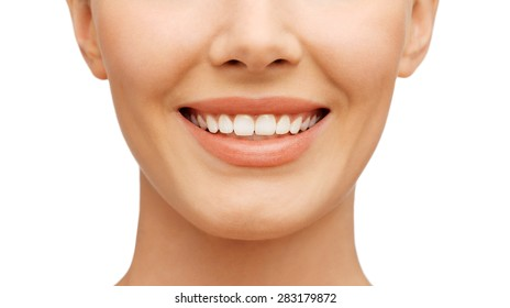 beauty and dental health concept - beautiful woman with white teeth, before and after