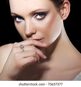 Beauty with diamond ring