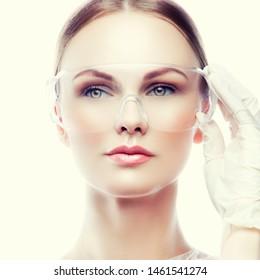 Beauty doctor woman studio portrait. Surgeon anti aging bautician concept