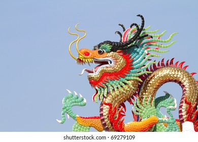 The beauty of the dragon statue to the sky background.