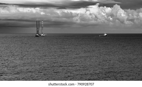 Beauty drilling rig in Black and White Landscape format