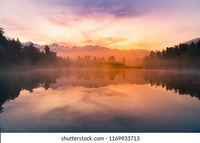 Beauty early morning mirror Meathson water lake, New Zealand natural landscape background