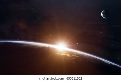 Beauty of Earth sunrise. Science fiction space wallpaper, incredibly beautiful planets, galaxies, dark and cold beauty of endless universe. Elements of this image furnished by NASA