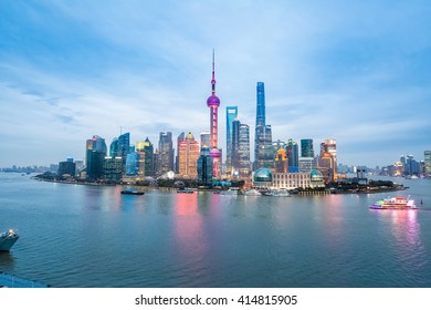 beauty of the east China metropolis ,shanghai skyline in nightfall