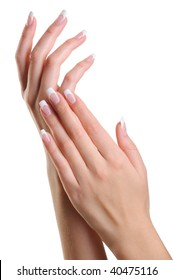 Beauty elegant female hands with french manicure isolated on white