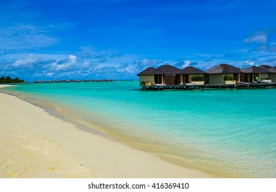 beauty of exotic island - maldives. Beach villas near ocean