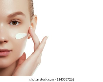 Beauty face. Beautiful Young Woman with Clean Fresh Skin touch own face and body. Facial treatment. Cosmetology, beauty and spa concept