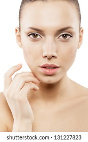 Beauty face of girl with clean skin - isolated