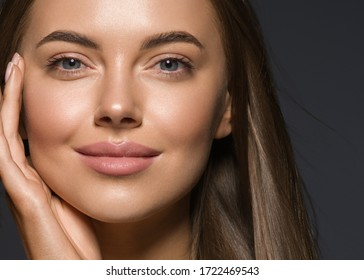 Beauty face skin woman beautiful eyes and lips tanned skin