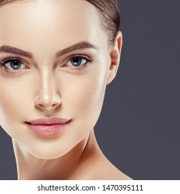 Beauty face skin woman healthy hair and skin close up cosmetic female face