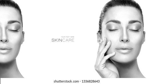 Beauty face spa woman. Greyscale beauty portrait of a sensual young woman, closed eyes, serene expression and hand to cheek wearing subtle makeup isolated on white with a second partial view