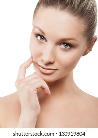Beauty face of woman with clean fresh skin - isolated