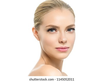 Beauty face woman closeup with healthy skin and makeup macro face female isolated on white