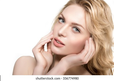 Beauty face woman. Girl healthy model in spa salon. Cream treatment products. Facial skin terapy